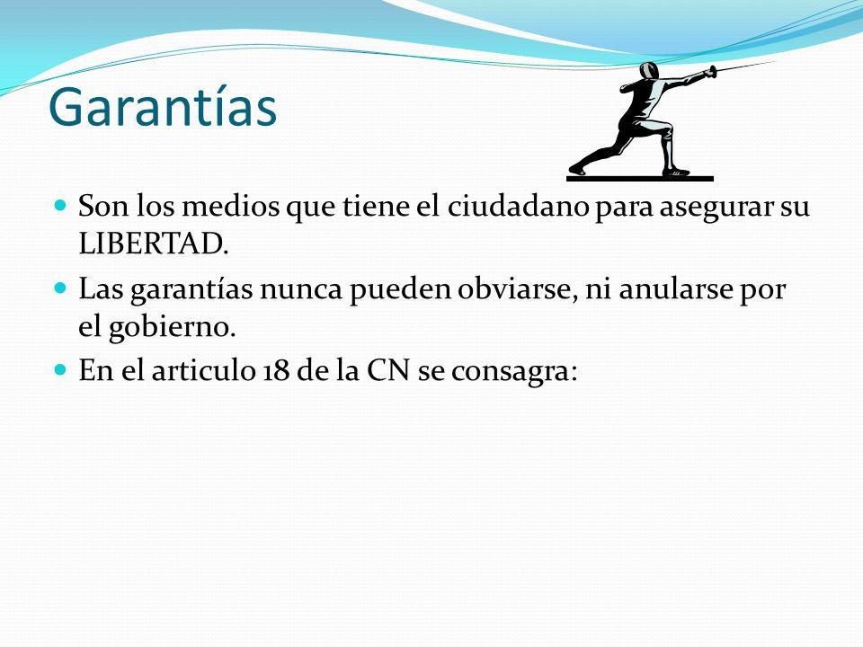 Garantías Son los medios que tiene el ciudadano para asegurar su LIBERTAD. Las garantías nunca pueden obviarse, ni anularse por el gobierno.