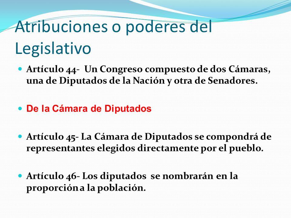 Atribuciones o poderes del Legislativo