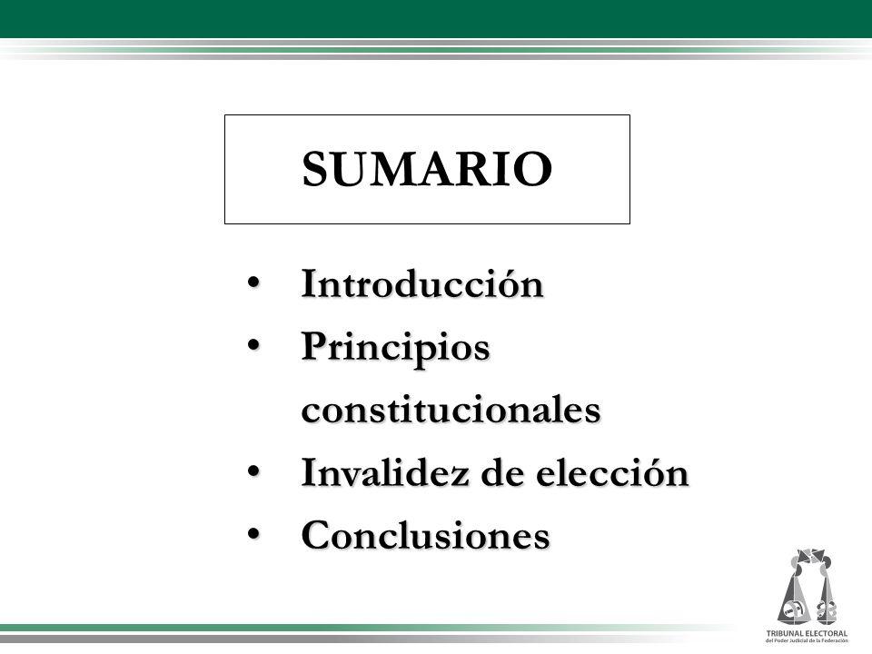 SUMARIO Introducción Principios constitucionales Invalidez de elección