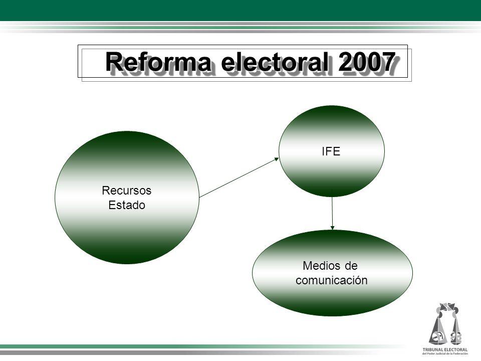 Reforma electoral 2007 IFE Recursos Estado Medios de comunicación