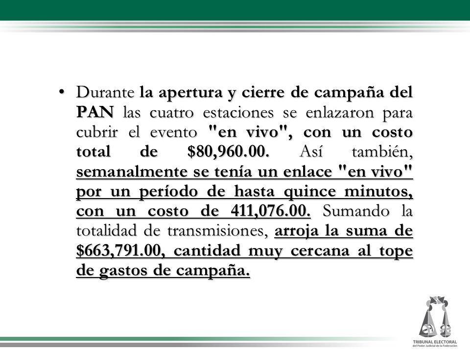 Durante la apertura y cierre de campaña del PAN las cuatro estaciones se enlazaron para cubrir el evento en vivo , con un costo total de $80,960.00.