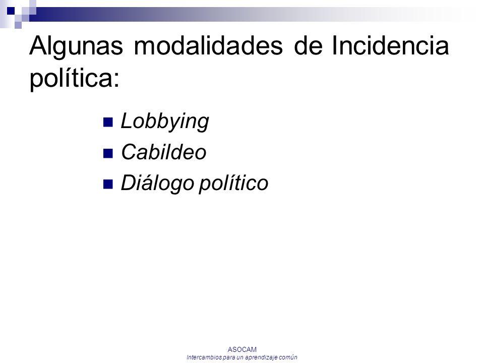 Algunas modalidades de Incidencia política:
