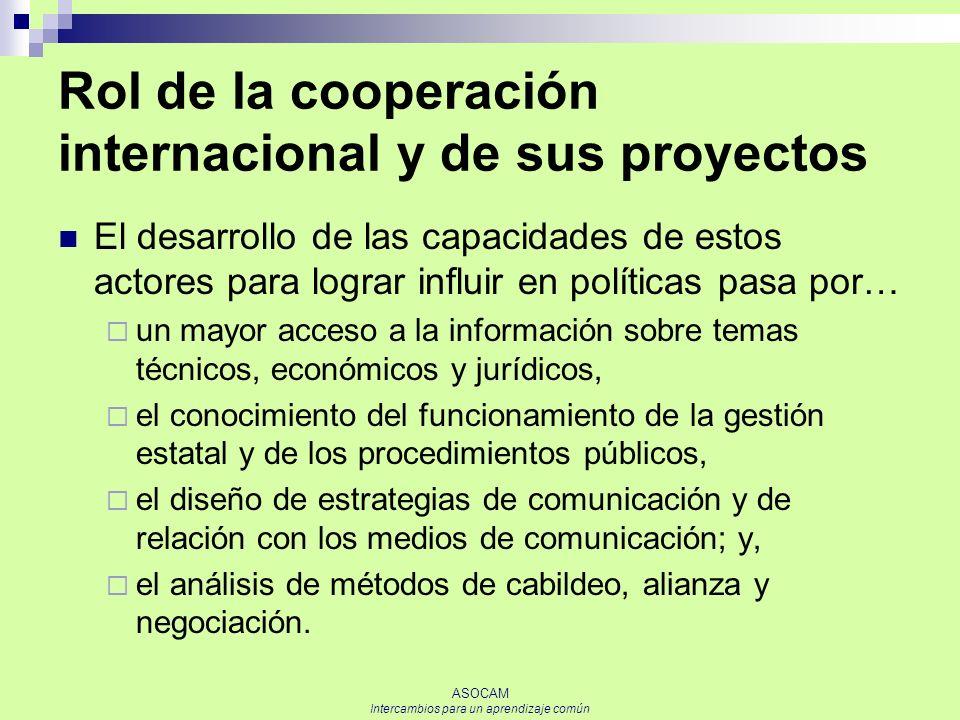 Rol de la cooperación internacional y de sus proyectos