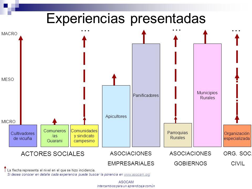 Experiencias presentadas