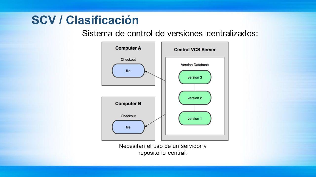 SCV / Clasificación Sistema de control de versiones centralizados: