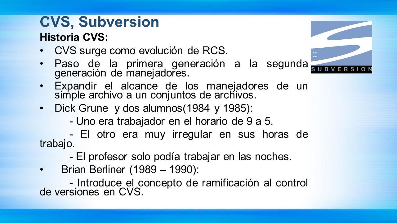 CVS, Subversion Historia CVS: CVS surge como evolución de RCS.
