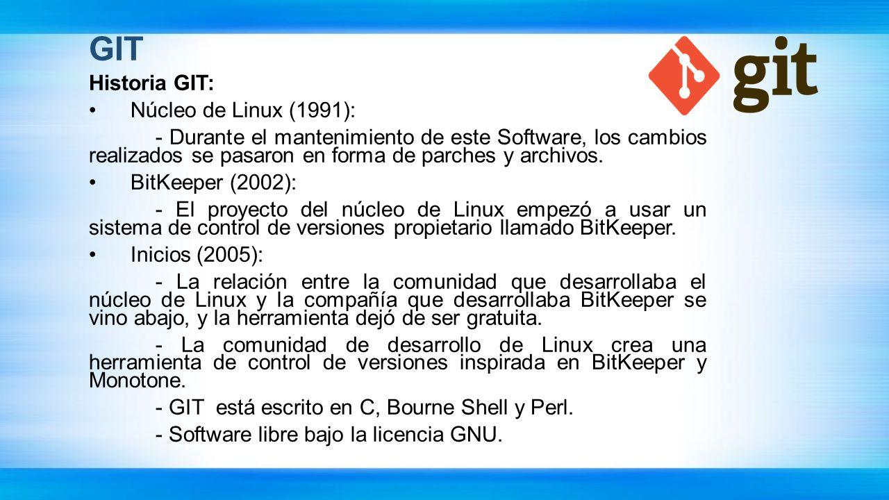 GIT Historia GIT: Núcleo de Linux (1991):