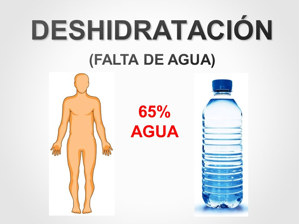 DESHIDRATACIÓN (FALTA DE AGUA) 65% AGUA