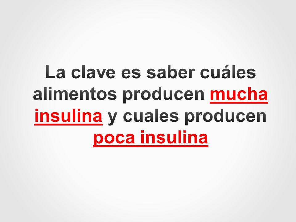 La clave es saber cuáles alimentos producen mucha insulina y cuales producen poca insulina
