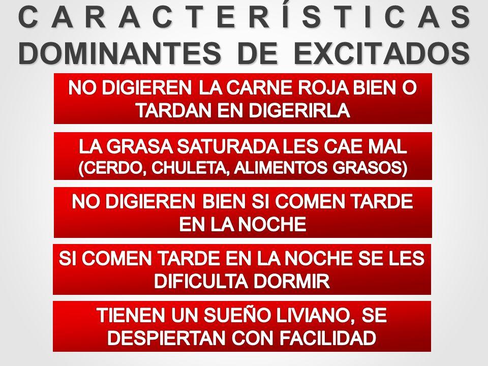 CARACTERÍSTICAS DOMINANTES DE EXCITADOS