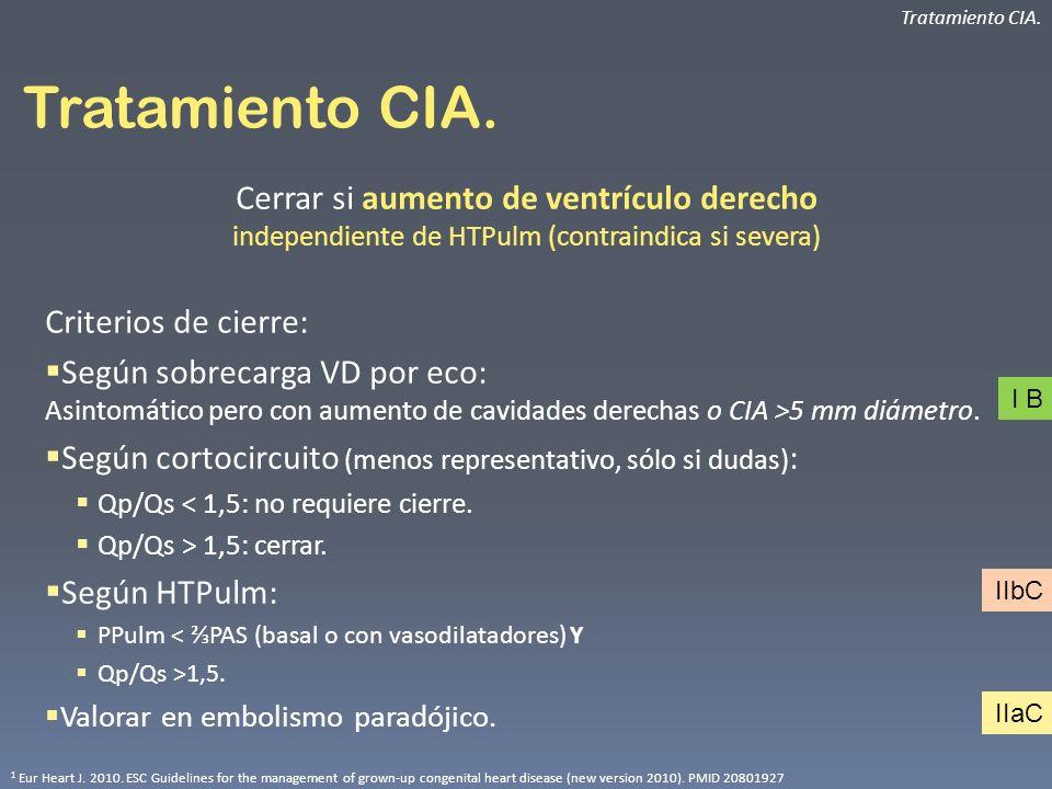 Tratamiento CIA. Tratamiento CIA. Cerrar si aumento de ventrículo derecho independiente de HTPulm (contraindica si severa)