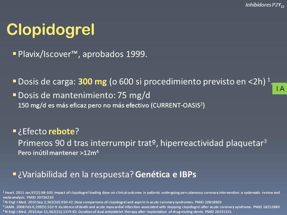 Clopidogrel Plavix/Iscover™, aprobados 1999.