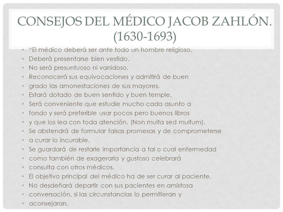 Consejos del médico Jacob Zahlón. (1630-1693)