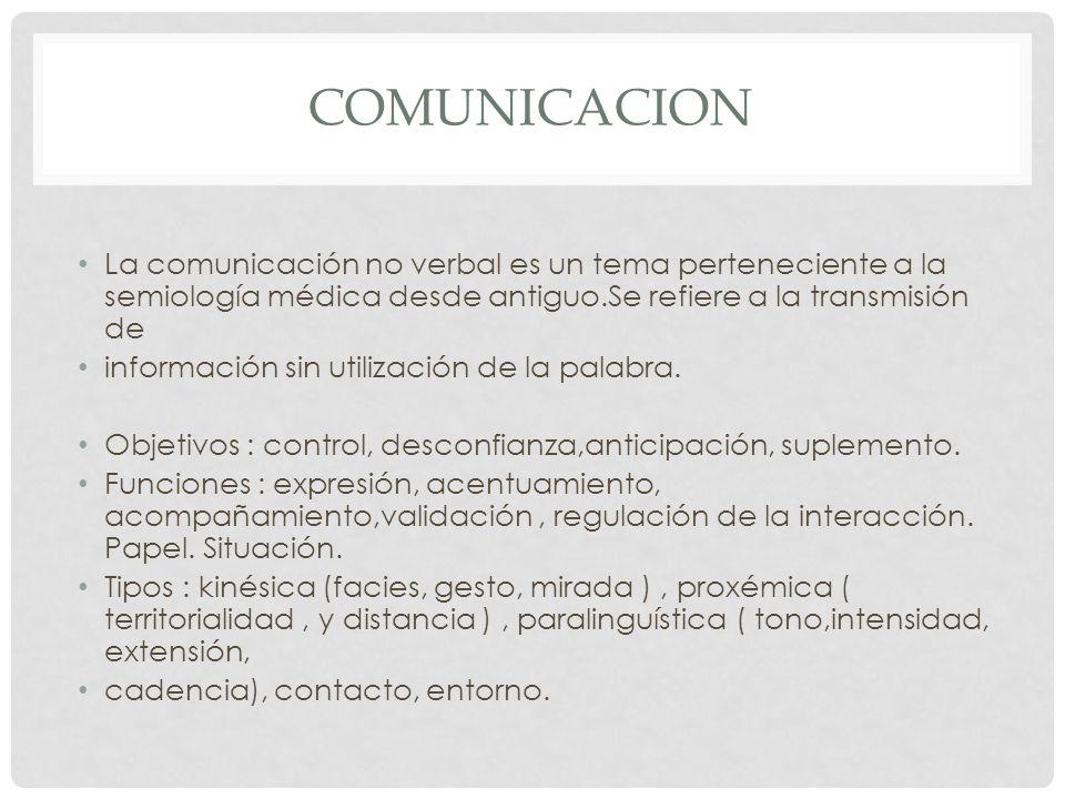 comunicacion La comunicación no verbal es un tema perteneciente a la semiología médica desde antiguo.Se refiere a la transmisión de.