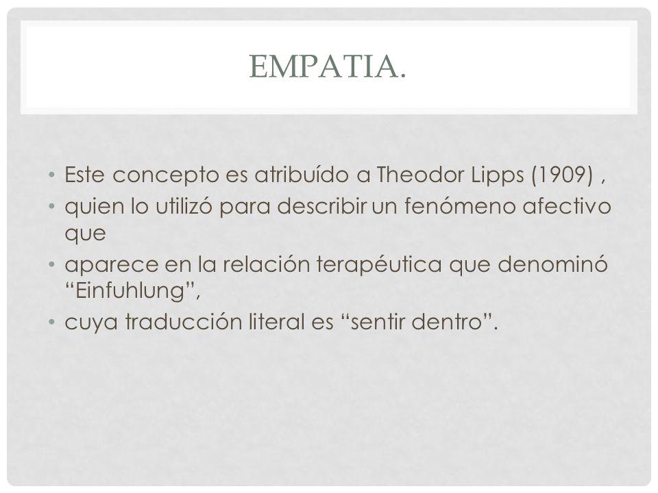 Empatia. Este concepto es atribuído a Theodor Lipps (1909) ,