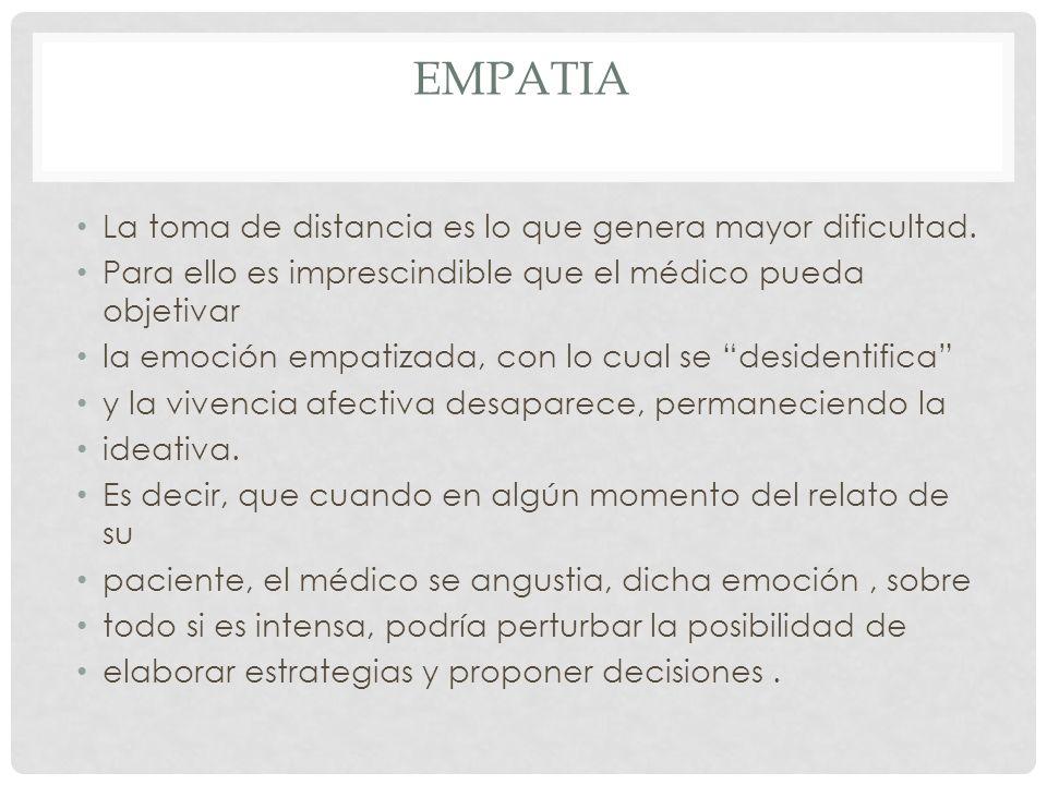 Empatia La toma de distancia es lo que genera mayor dificultad.