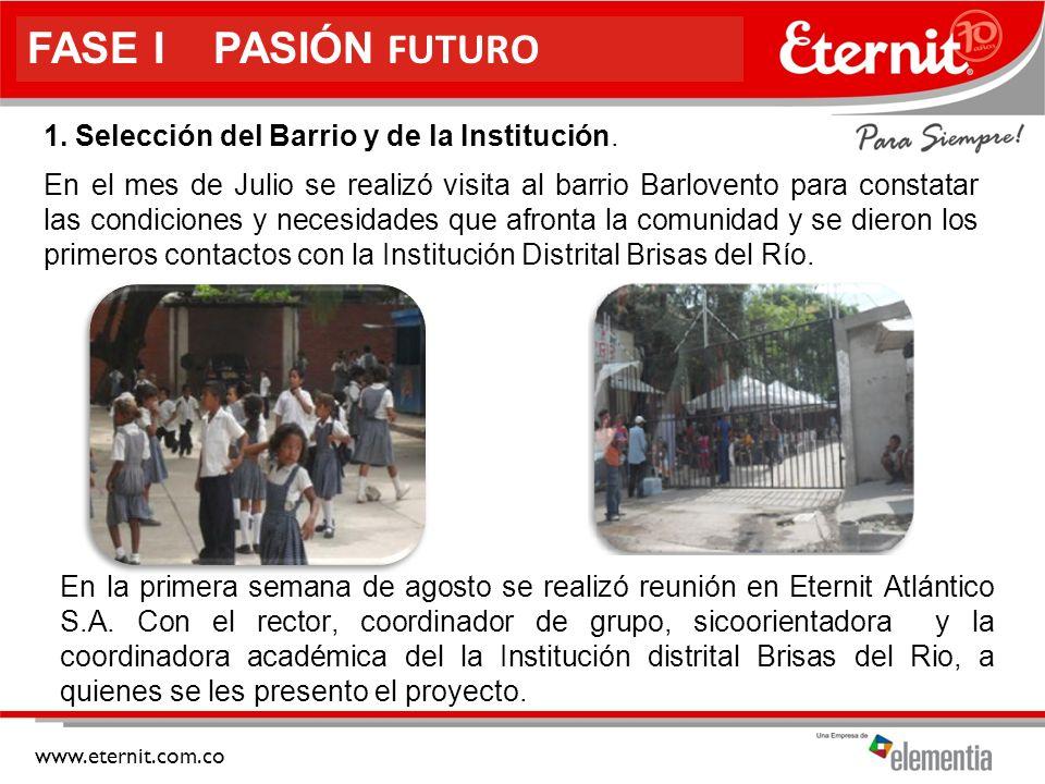 FASE I PASIÓN FUTURO 1. Selección del Barrio y de la Institución.
