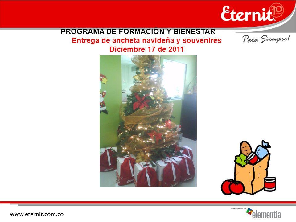 Entrega de ancheta navideña y souvenires Diciembre 17 de 2011