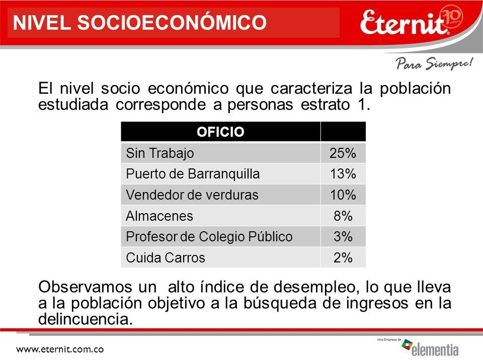 NIVEL SOCIOECONÓMICO El nivel socio económico que caracteriza la población estudiada corresponde a personas estrato 1.