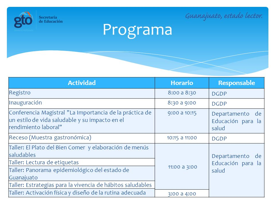 Programa Actividad Horario Responsable Registro 8:00 a 8:30 DGDP