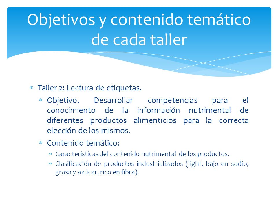 Objetivos y contenido temático de cada taller
