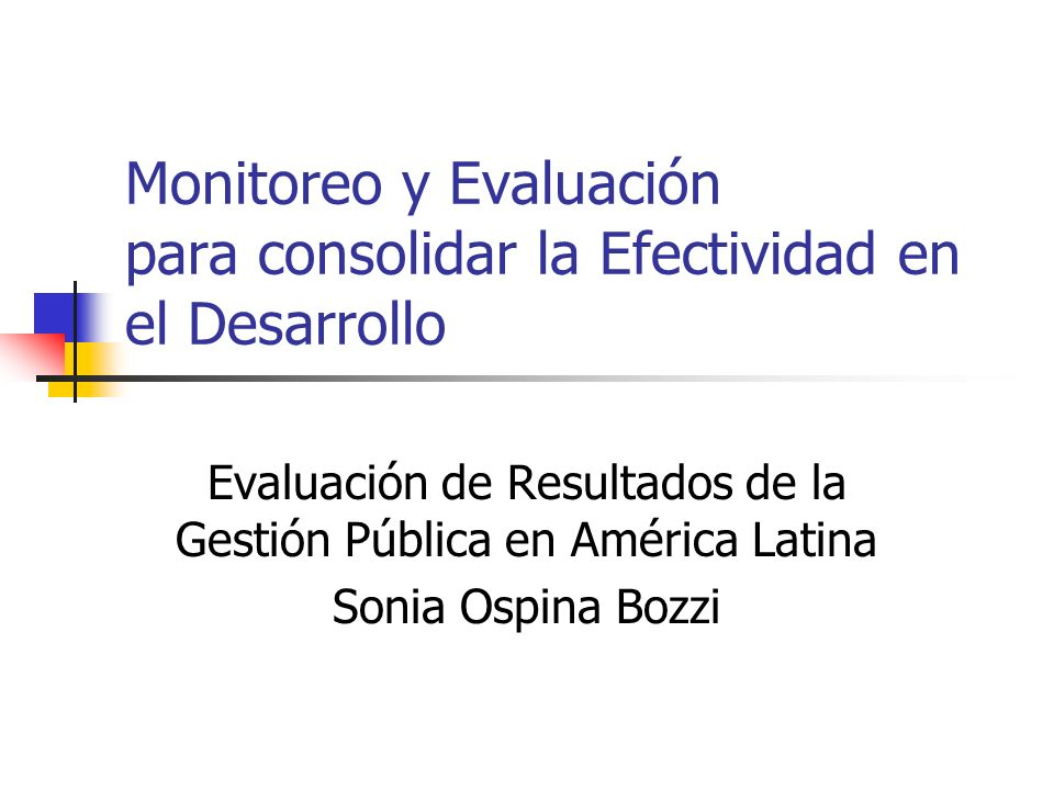Monitoreo y Evaluación para consolidar la Efectividad en el Desarrollo