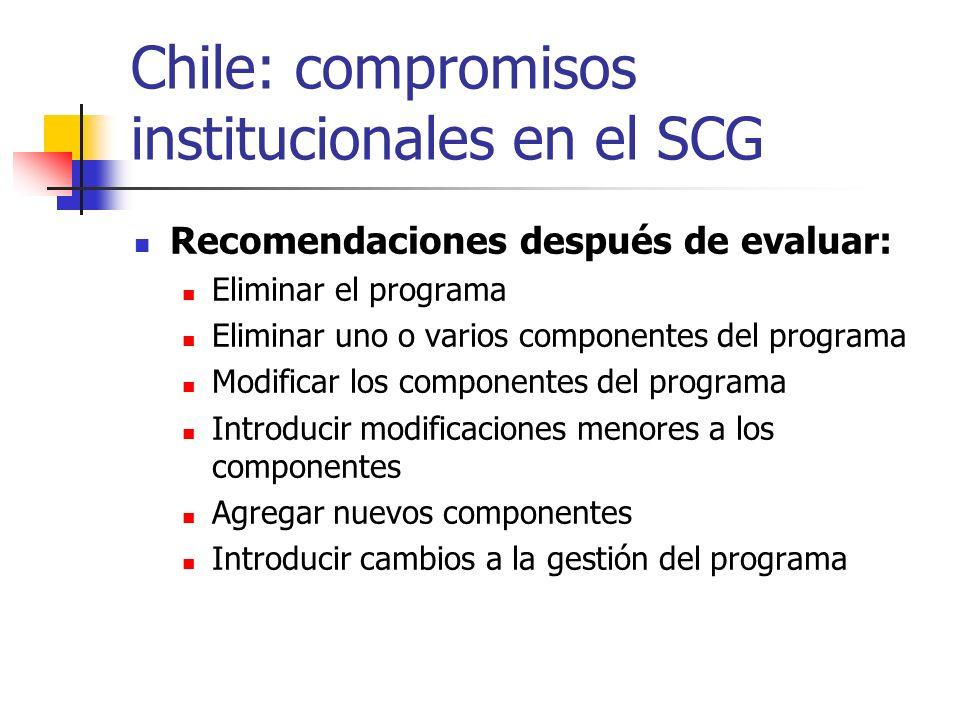 Chile: compromisos institucionales en el SCG