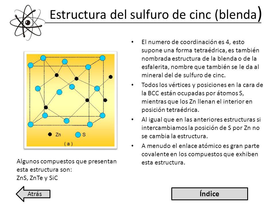 Estructura del sulfuro de cinc (blenda)