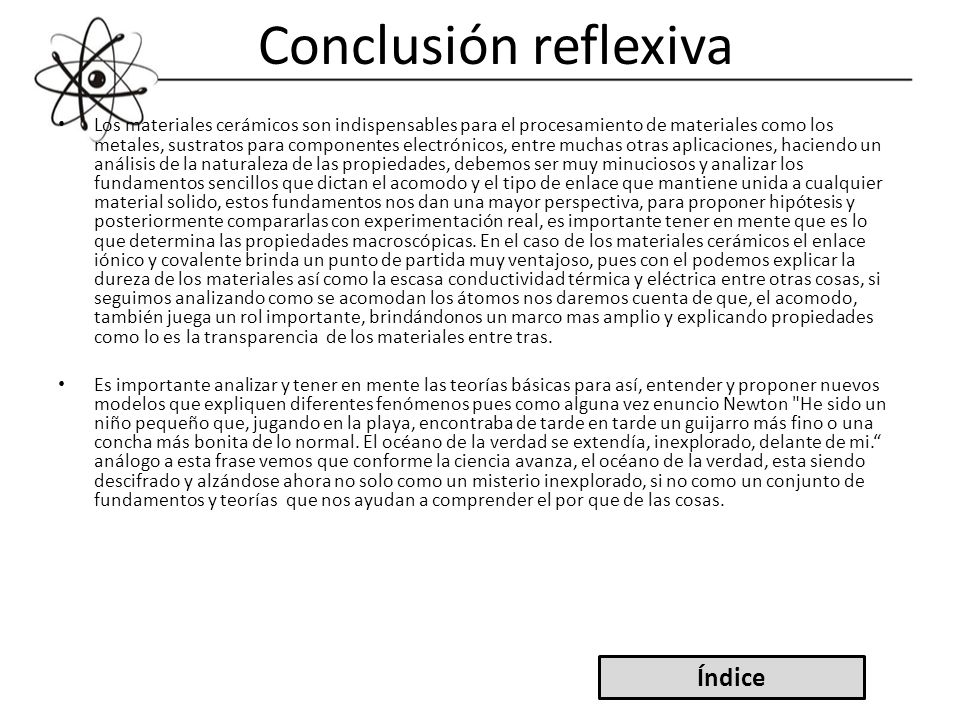 Conclusión reflexiva Índice