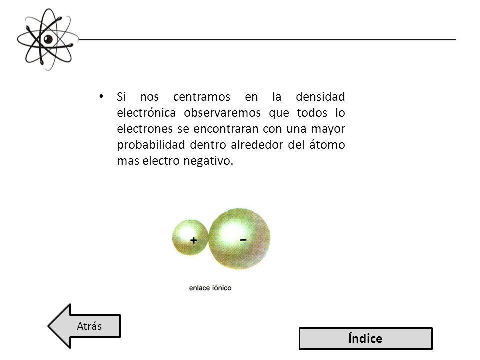 Si nos centramos en la densidad electrónica observaremos que todos lo electrones se encontraran con una mayor probabilidad dentro alrededor del átomo mas electro negativo.