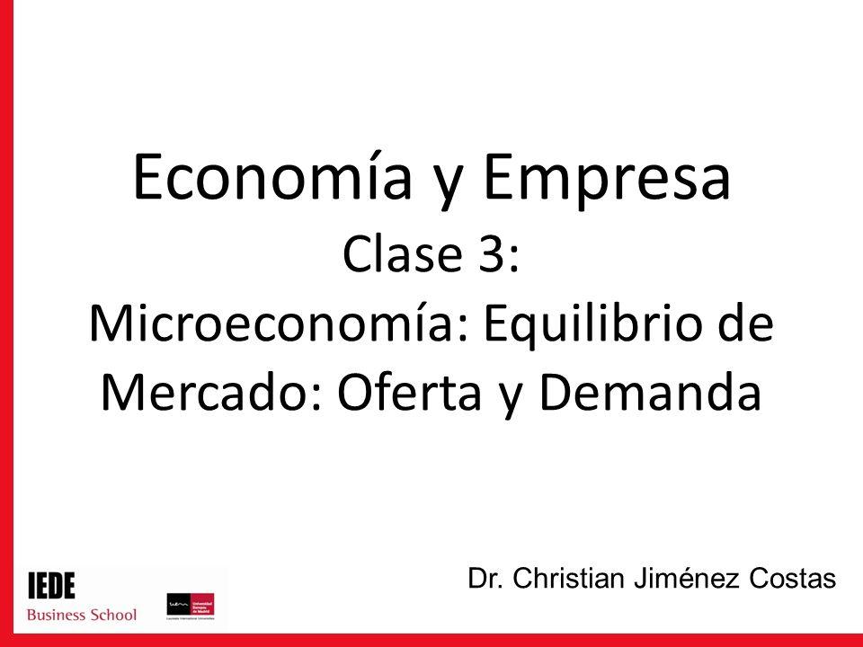 Economía y Empresa Clase 3: Microeconomía: Equilibrio de Mercado: Oferta y Demanda