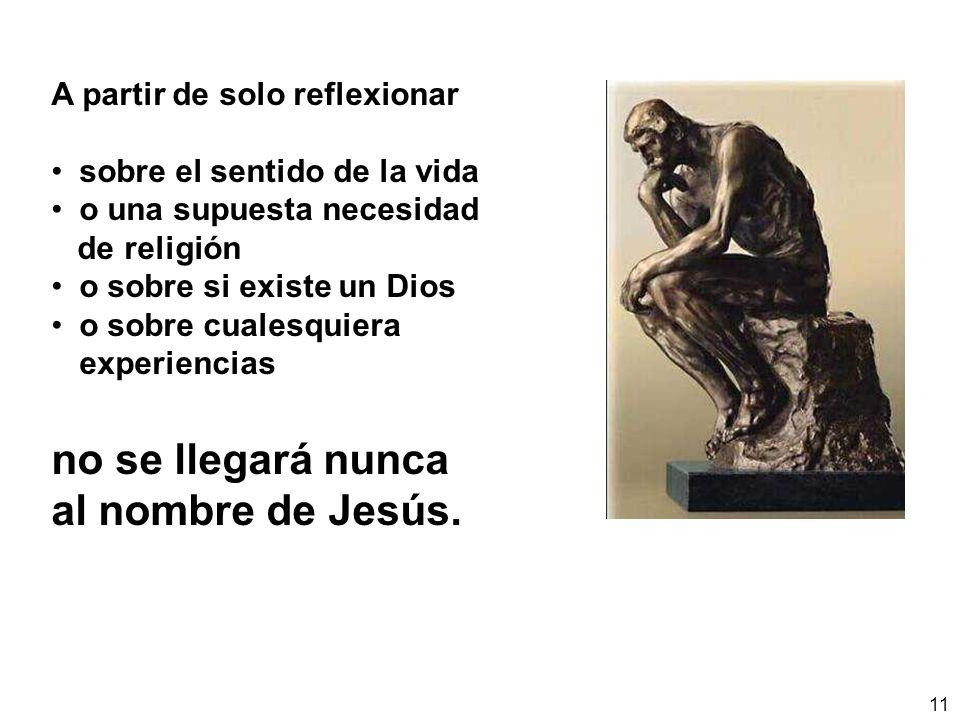 no se llegará nunca al nombre de Jesús. A partir de solo reflexionar