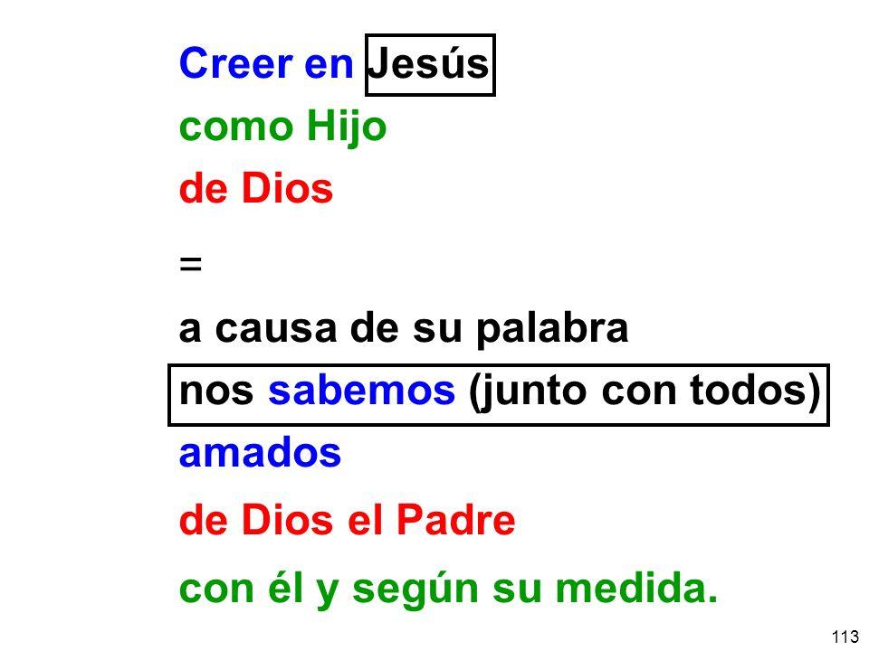 Creer en Jesús como Hijo. de Dios. = a causa de su palabra. nos sabemos (junto con todos) amados.