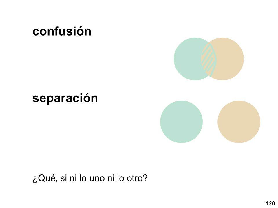 confusión separación ¿Qué, si ni lo uno ni lo otro
