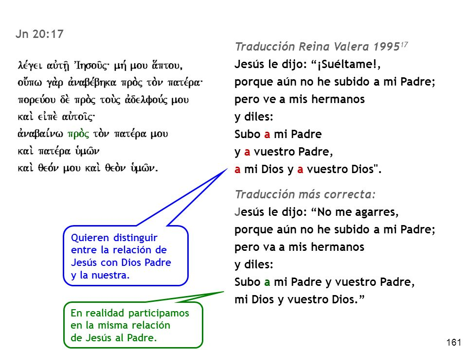 Traducción Reina Valera 199517 Jesús le dijo: ¡Suéltame!,