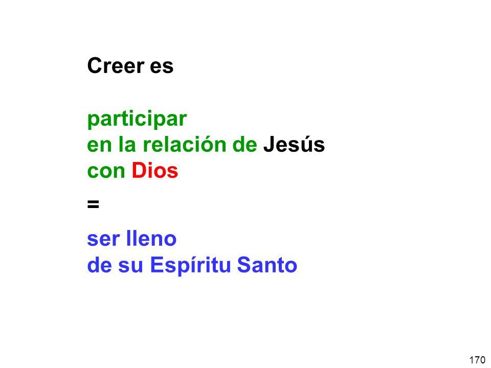 Creer es participar en la relación de Jesús con Dios = ser lleno de su Espíritu Santo