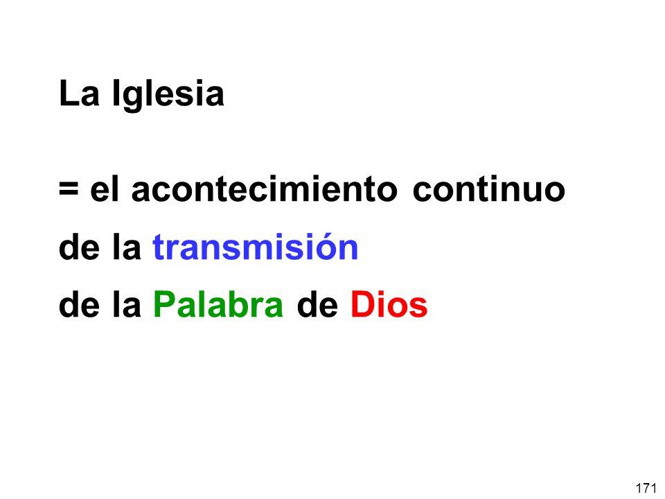 La Iglesia = el acontecimiento continuo de la transmisión de la Palabra de Dios
