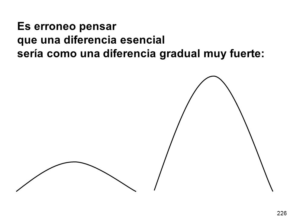 Es erroneo pensar que una diferencia esencial sería como una diferencia gradual muy fuerte: