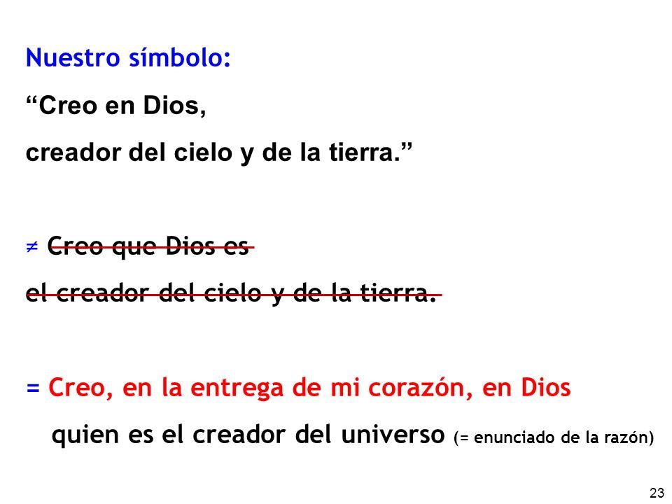 Nuestro símbolo: Creo en Dios, creador del cielo y de la tierra. ≠ Creo que Dios es. el creador del cielo y de la tierra.