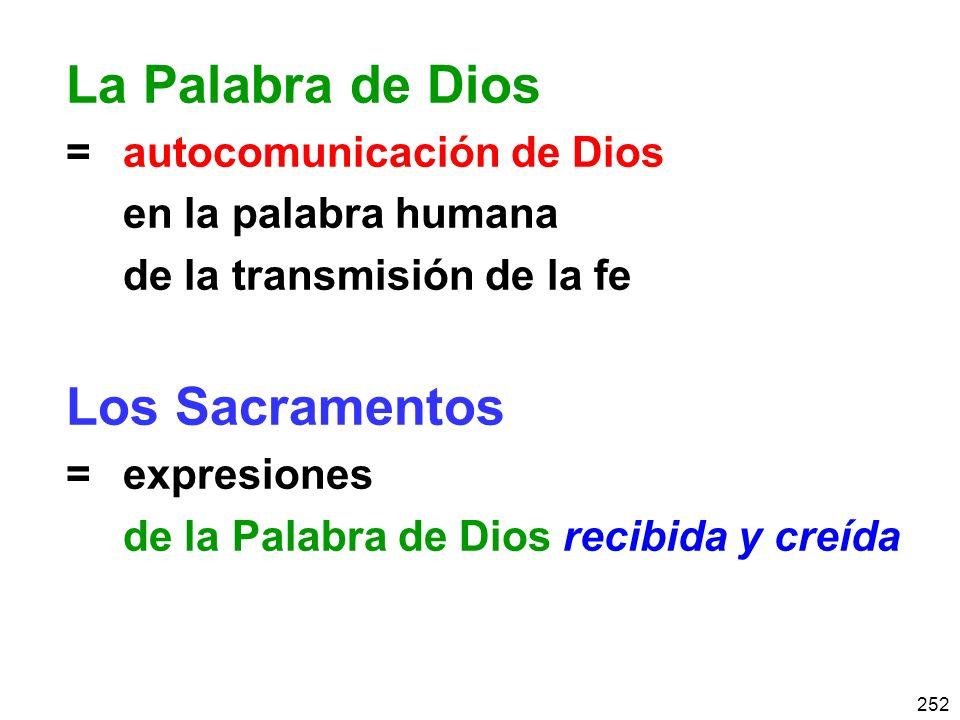 La Palabra de Dios Los Sacramentos = autocomunicación de Dios