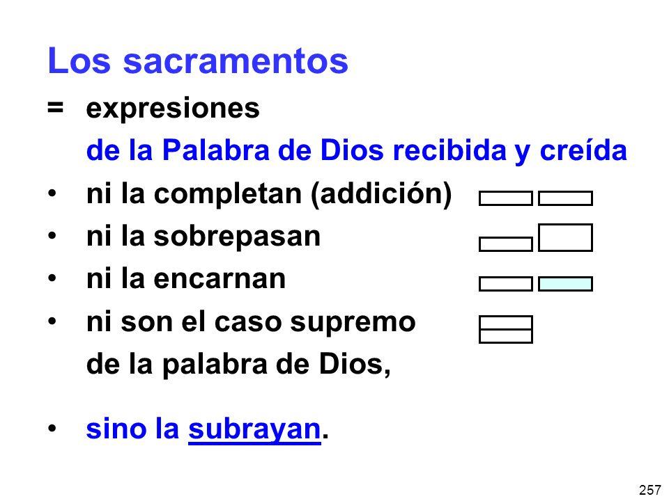 Los sacramentos = expresiones de la Palabra de Dios recibida y creída