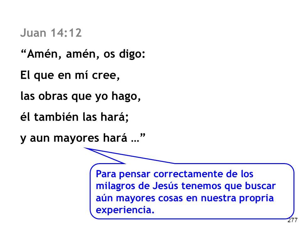 Juan 14:12 Amén, amén, os digo: El que en mí cree,