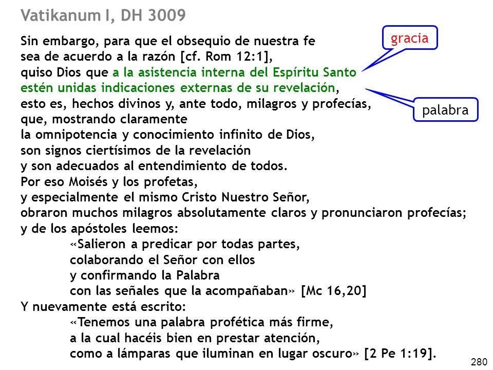 Vatikanum I, DH 3009 gracia palabra