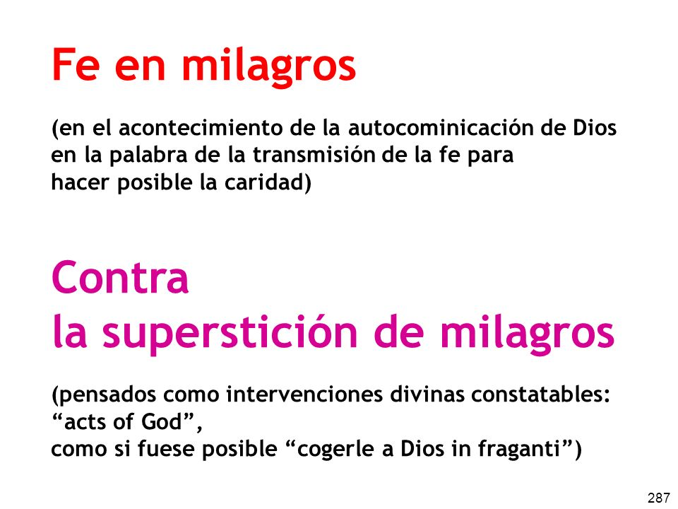 la superstición de milagros