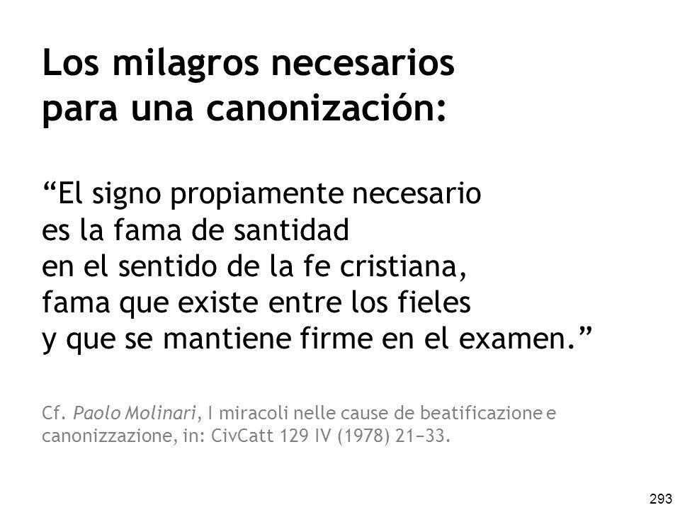 Los milagros necesarios para una canonización: