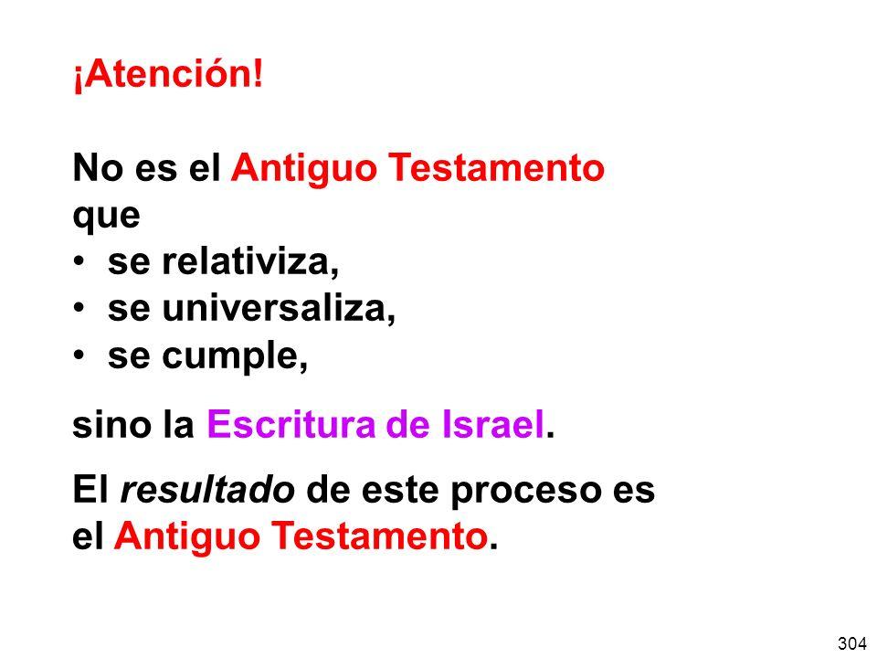 ¡Atención! No es el Antiguo Testamento. que. se relativiza, se universaliza, se cumple, sino la Escritura de Israel.