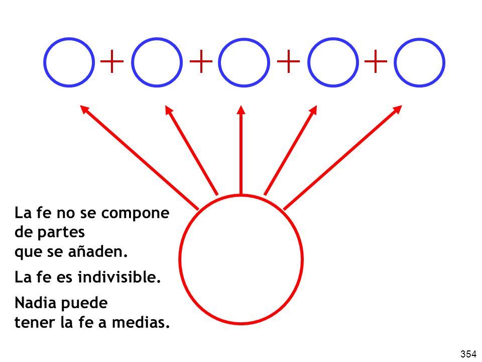 La fe no se compone de partes. que se añaden. La fe es indivisible.
