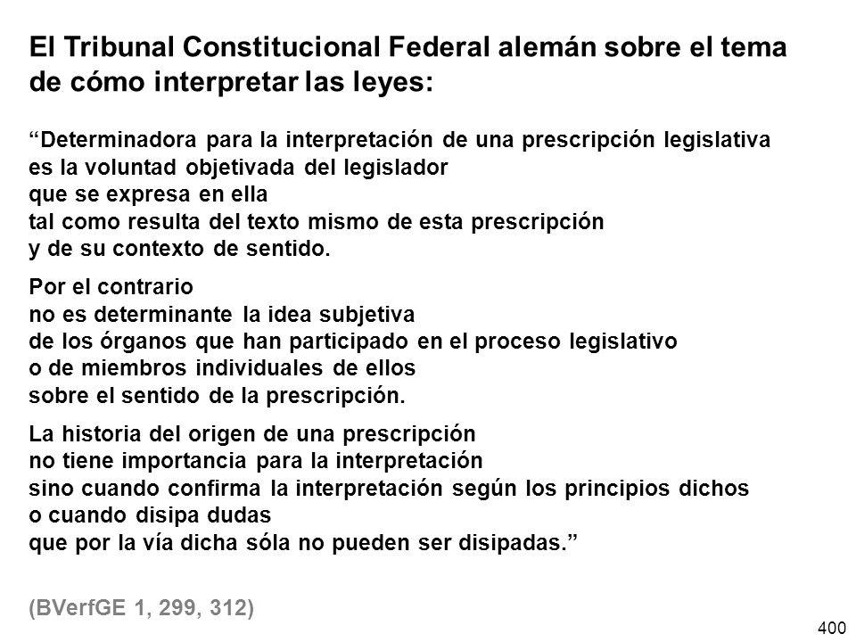 El Tribunal Constitucional Federal alemán sobre el tema de cómo interpretar las leyes: