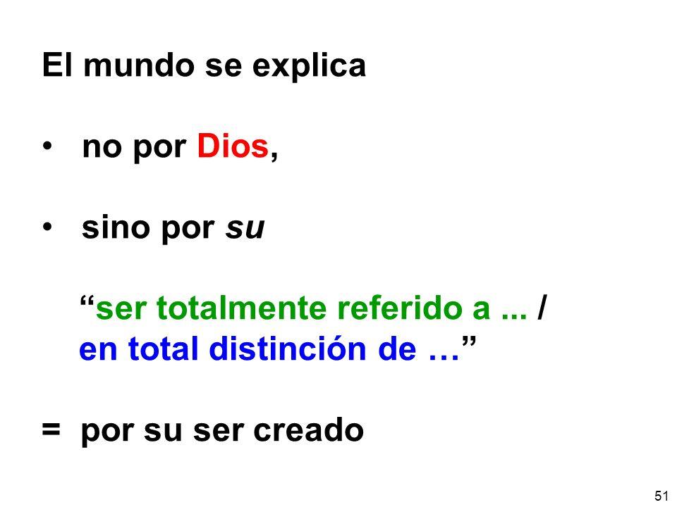 El mundo se explica no por Dios, sino por su. ser totalmente referido a ... / en total distinción de …