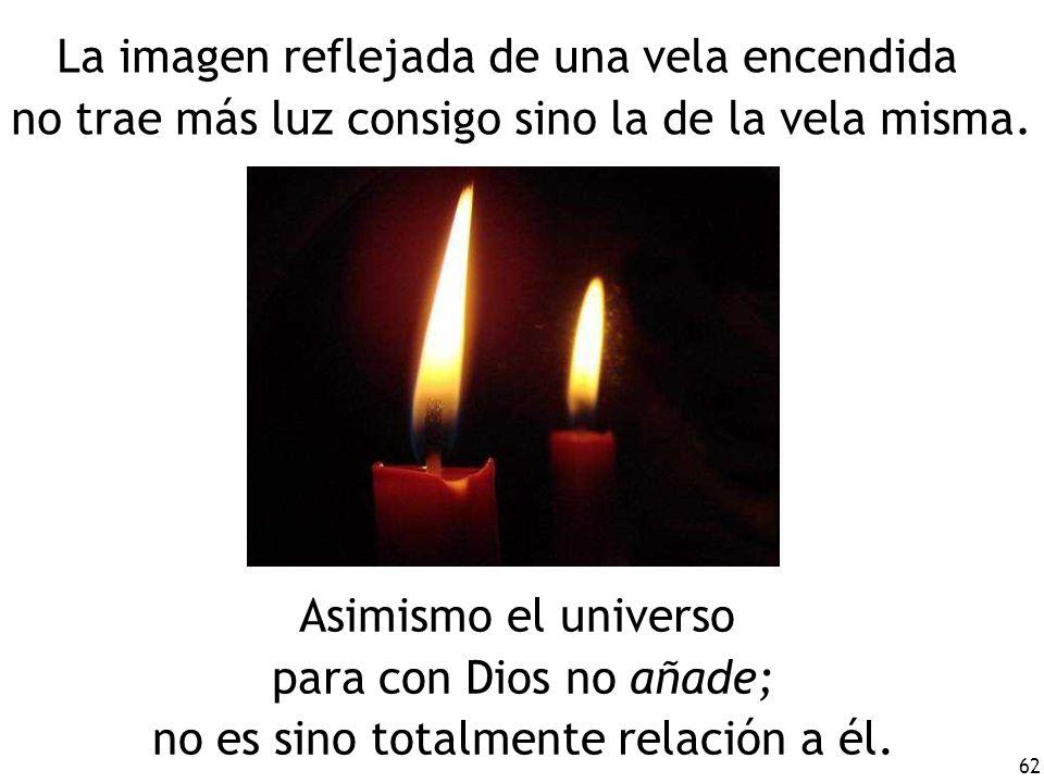 La imagen reflejada de una vela encendida